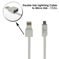 Double Usb Lightning Cable to Micro USB - white600x600